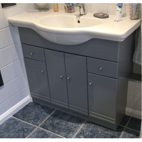 Grey HCF used on a bathroom cabinet