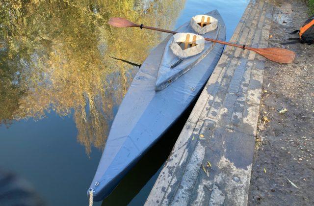 handmade kayak waterproofed with plasti dip