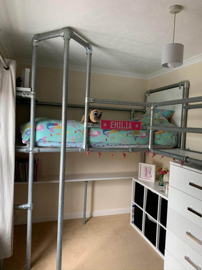 scaffold bed with Plasti Dip glow in the dark headboard